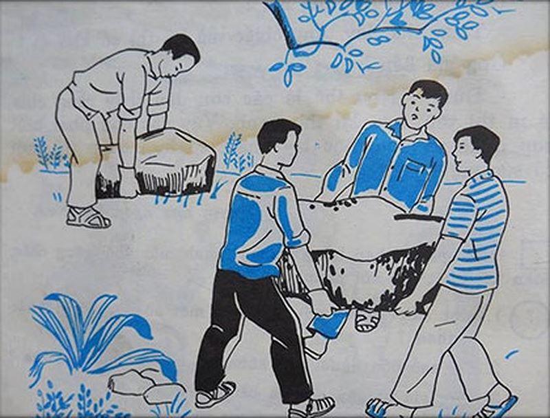 Hình minh họa bài thơ Hòn đá của Bác Hồ trong sách Tiếng Việt lớp 3, nguồn: PLO.